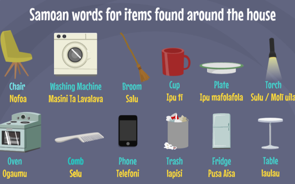 Samoan words for Items around the house